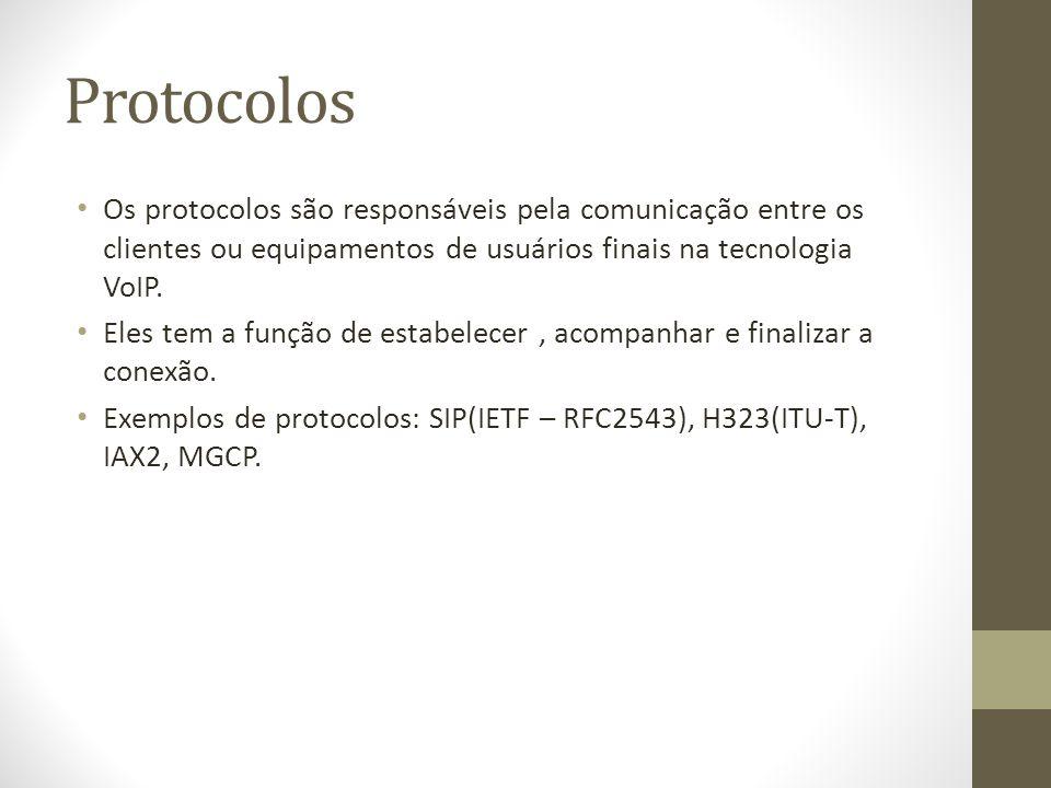 Protocolos Os protocolos são responsáveis pela comunicação entre os clientes ou equipamentos de usuários finais na tecnologia VoIP.