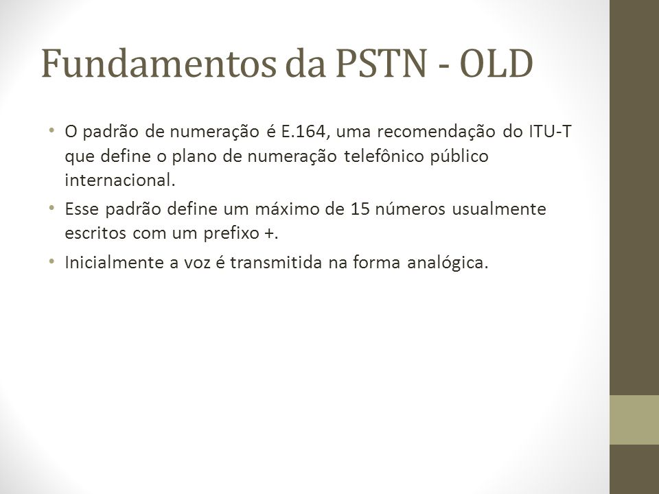 Fundamentos da PSTN - OLD