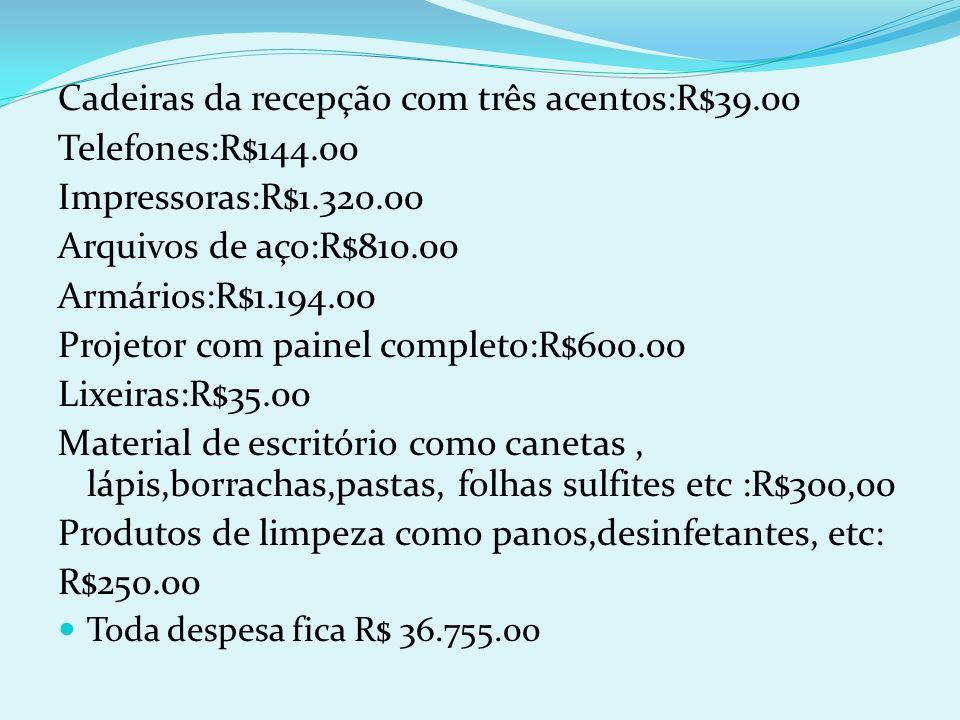 Cadeiras da recepção com três acentos:R$39.00 Telefones:R$144.00