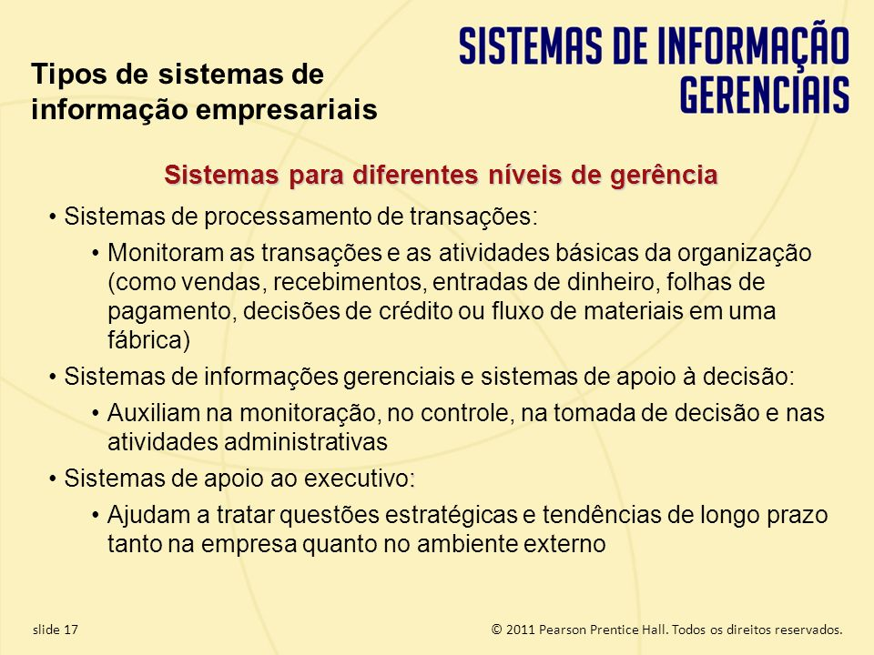 Sistemas para diferentes níveis de gerência