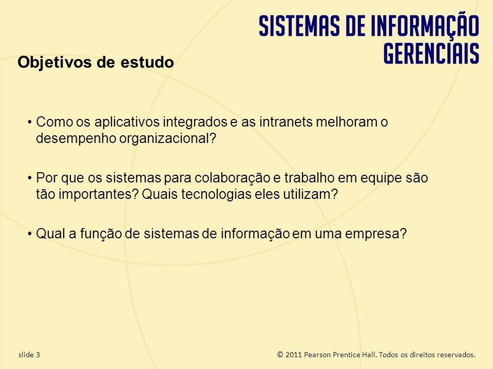 Objetivos de estudo Como os aplicativos integrados e as intranets melhoram o desempenho organizacional