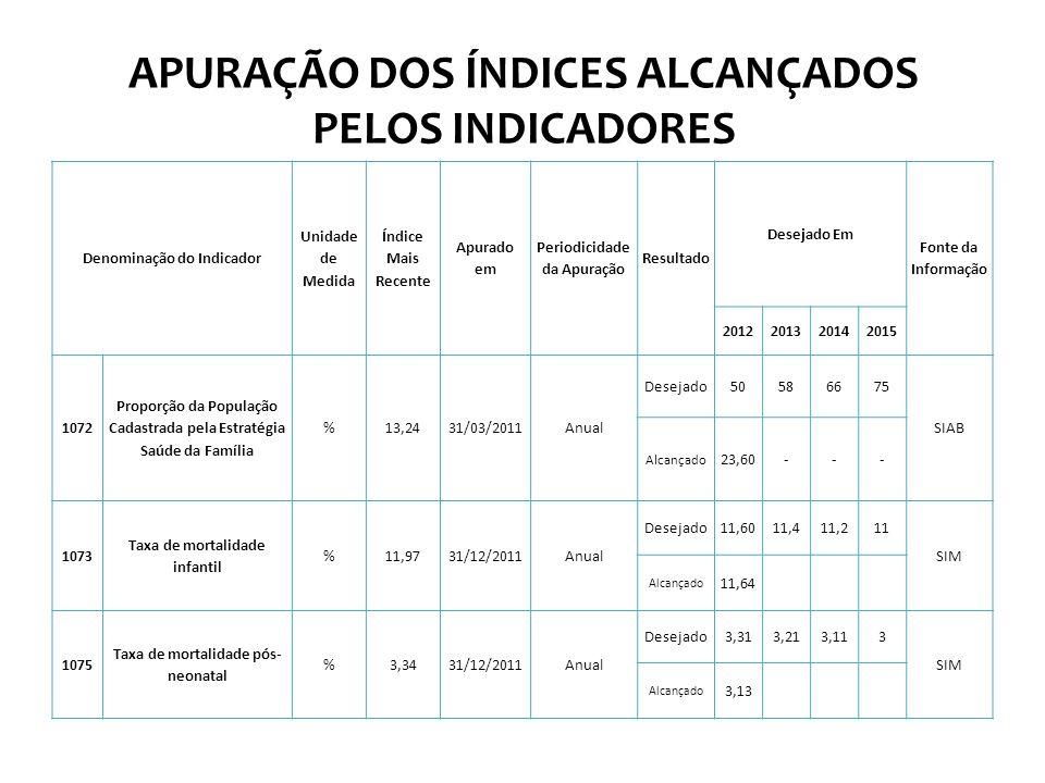 APURAÇÃO DOS ÍNDICES ALCANÇADOS PELOS INDICADORES