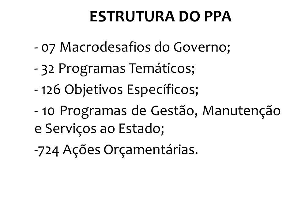 ESTRUTURA DO PPA - 07 Macrodesafios do Governo;