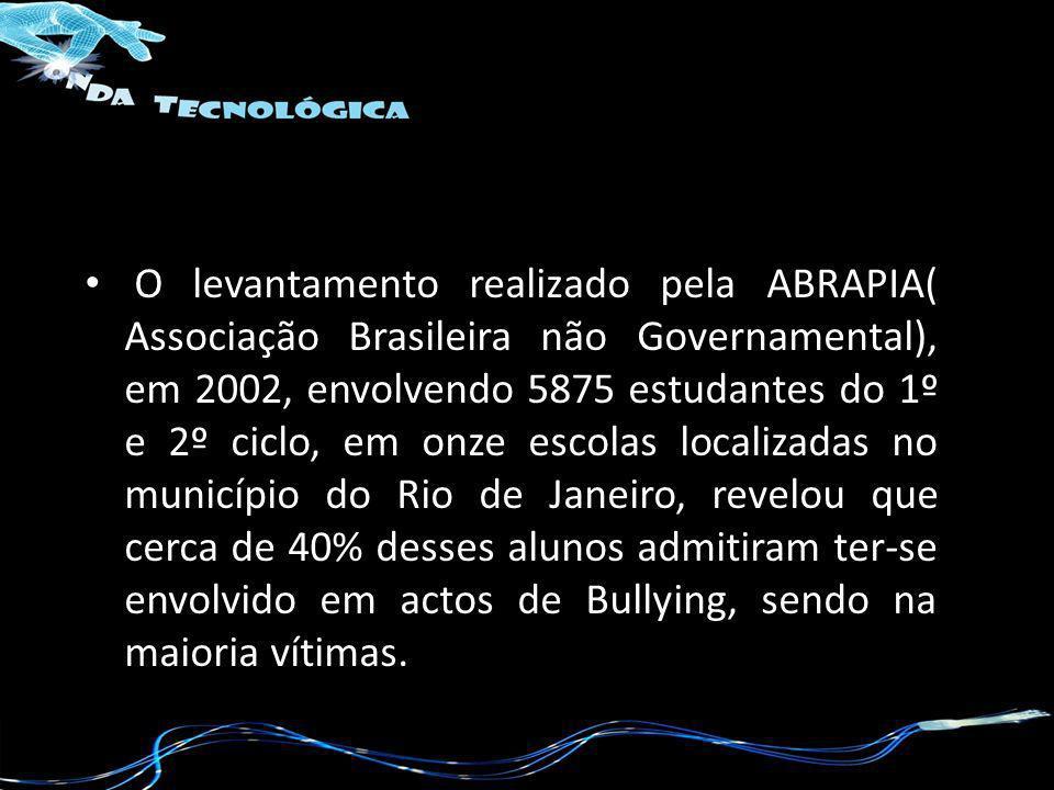 O levantamento realizado pela ABRAPIA( Associação Brasileira não Governamental), em 2002, envolvendo 5875 estudantes do 1º e 2º ciclo, em onze escolas localizadas no município do Rio de Janeiro, revelou que cerca de 40% desses alunos admitiram ter-se envolvido em actos de Bullying, sendo na maioria vítimas.