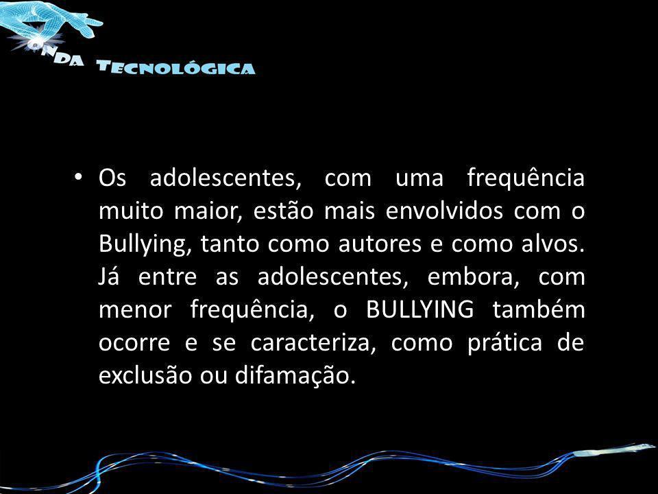 Os adolescentes, com uma frequência muito maior, estão mais envolvidos com o Bullying, tanto como autores e como alvos.