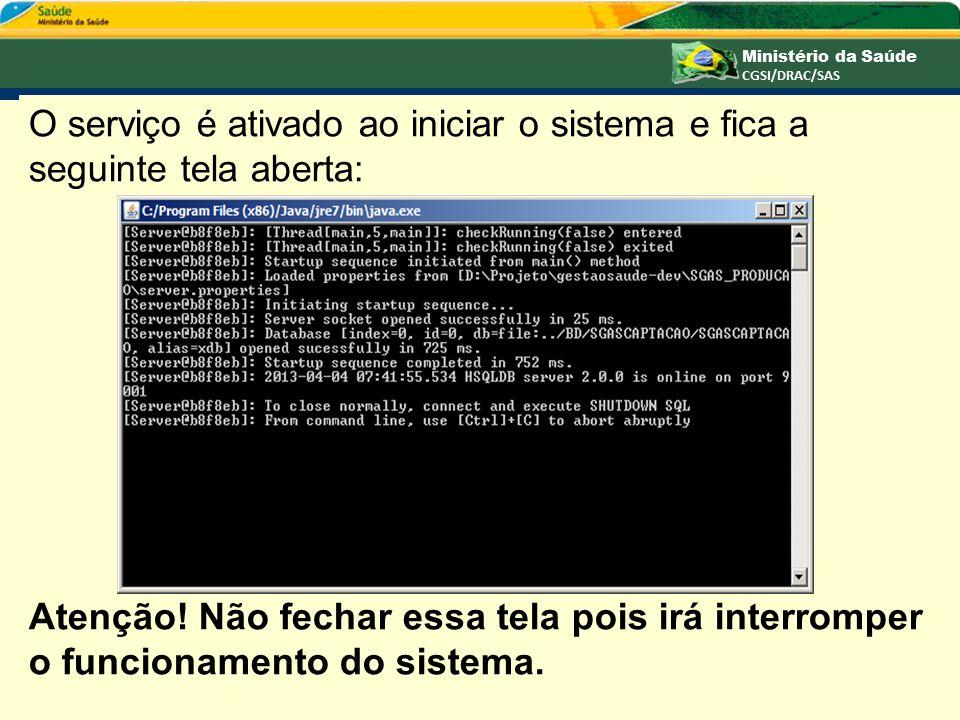 O serviço é ativado ao iniciar o sistema e fica a seguinte tela aberta: