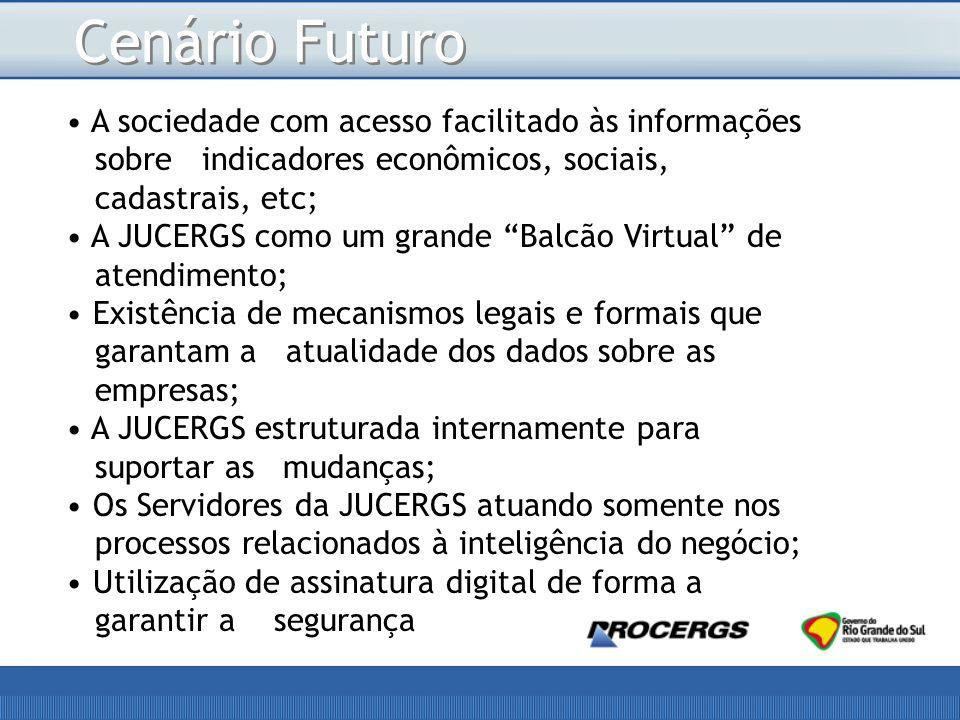 Cenário Futuro A sociedade com acesso facilitado às informações sobre indicadores econômicos, sociais, cadastrais, etc;