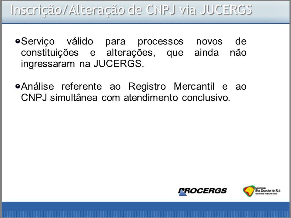 Inscrição/Alteração de CNPJ via JUCERGS
