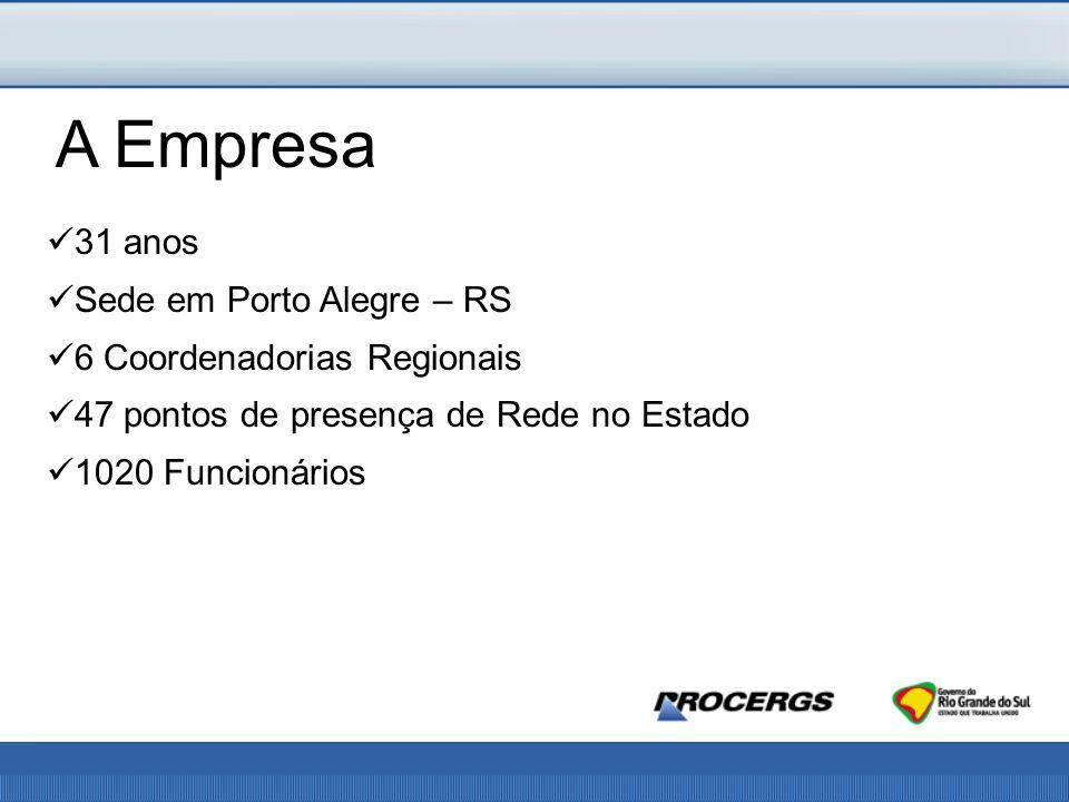 A Empresa 31 anos Sede em Porto Alegre – RS 6 Coordenadorias Regionais