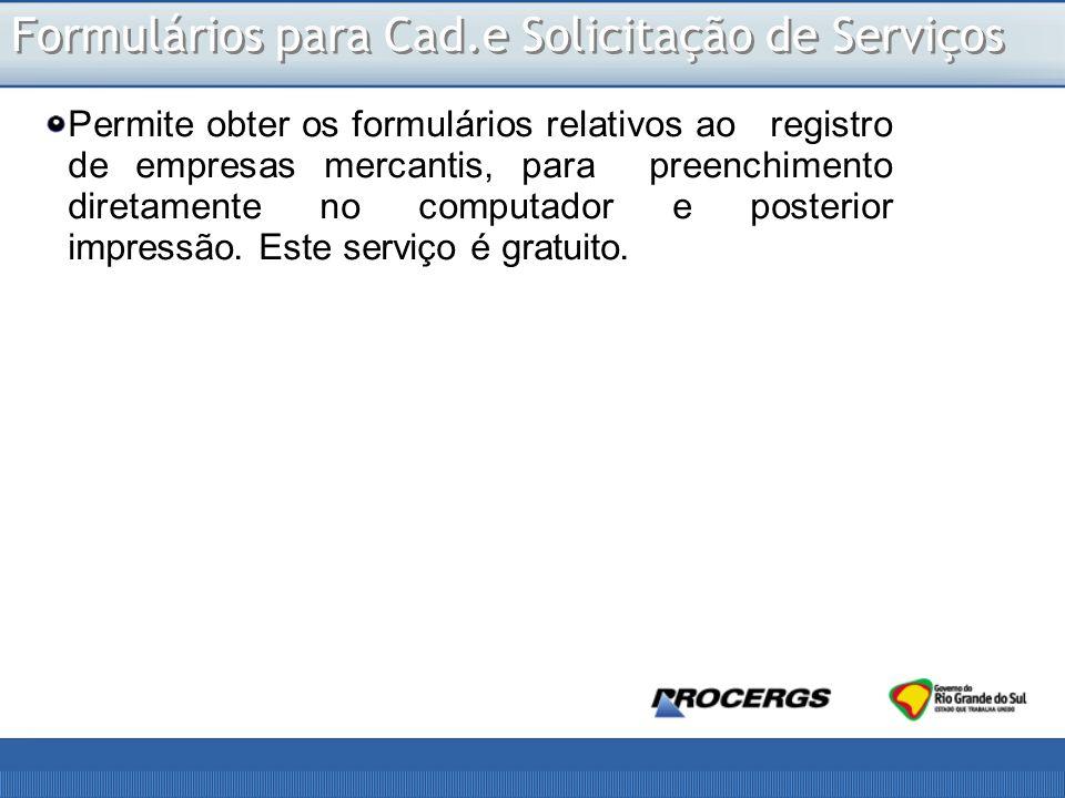 Formulários para Cad.e Solicitação de Serviços