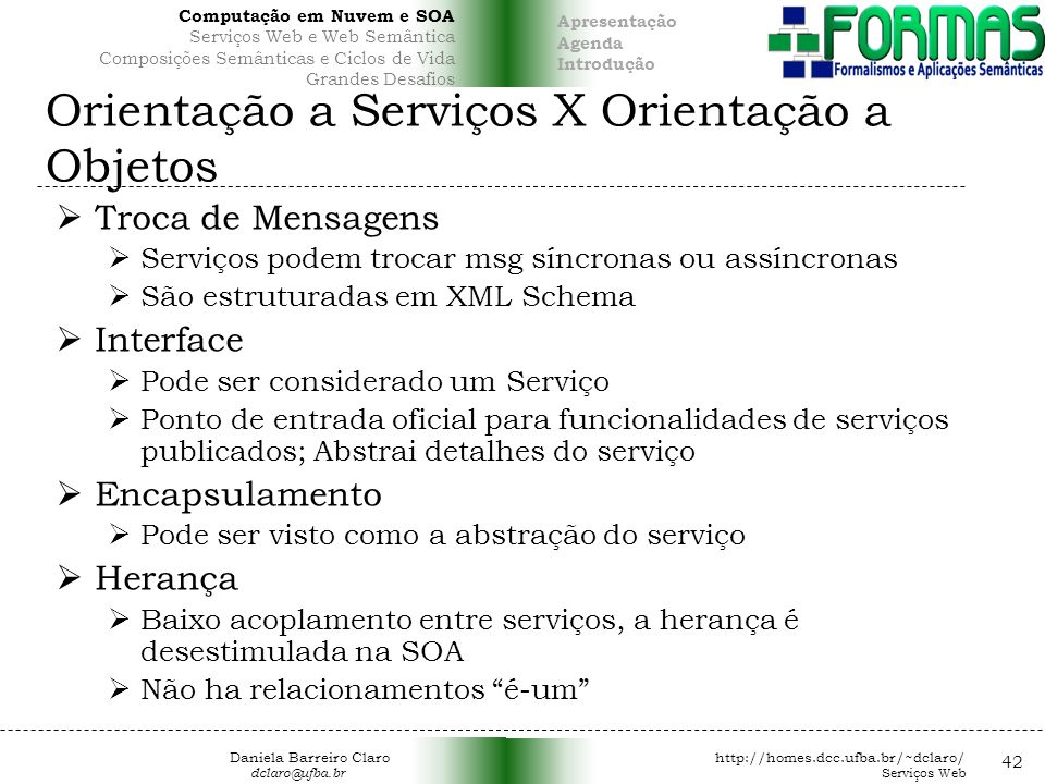 Orientação a Serviços X Orientação a Objetos