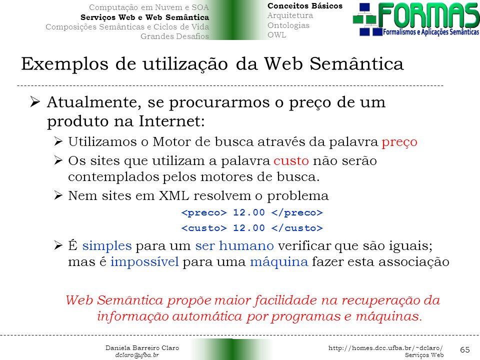Exemplos de utilização da Web Semântica