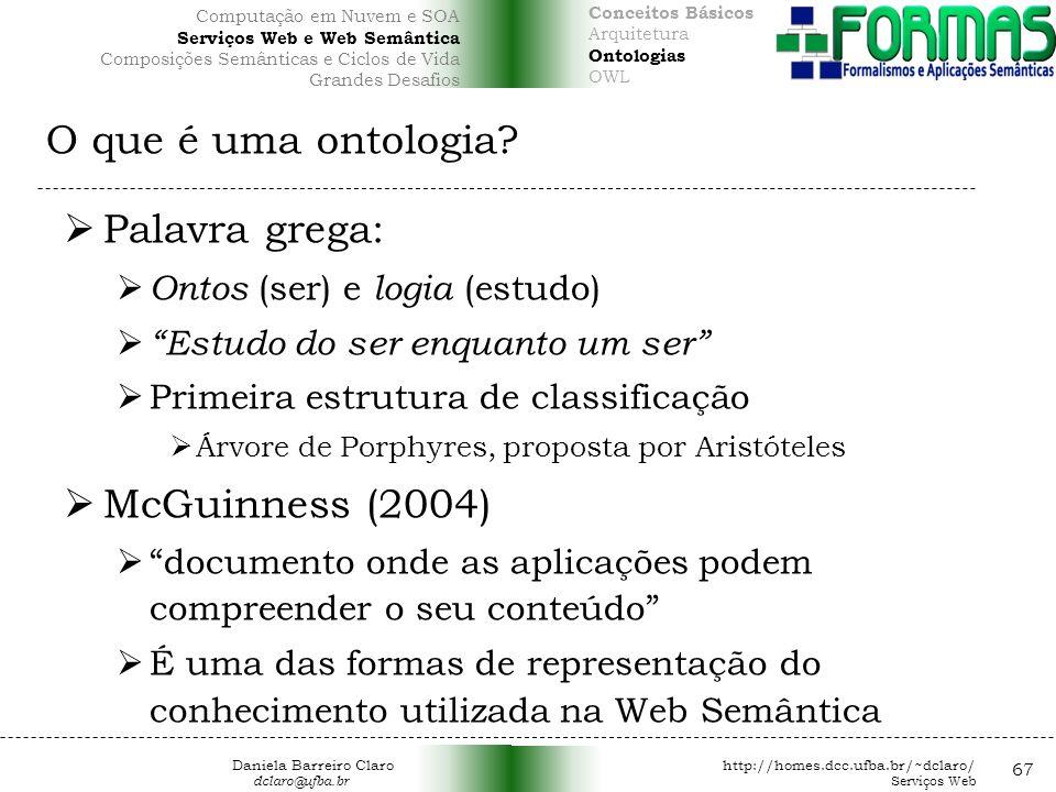 O que é uma ontologia Palavra grega: McGuinness (2004)