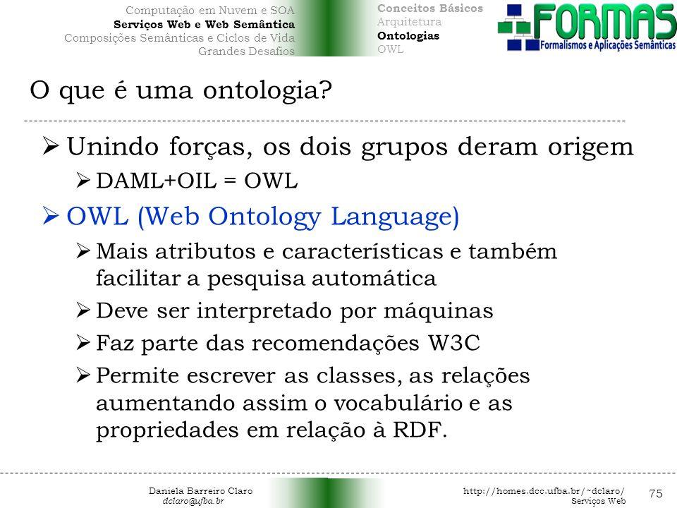 Unindo forças, os dois grupos deram origem OWL (Web Ontology Language)