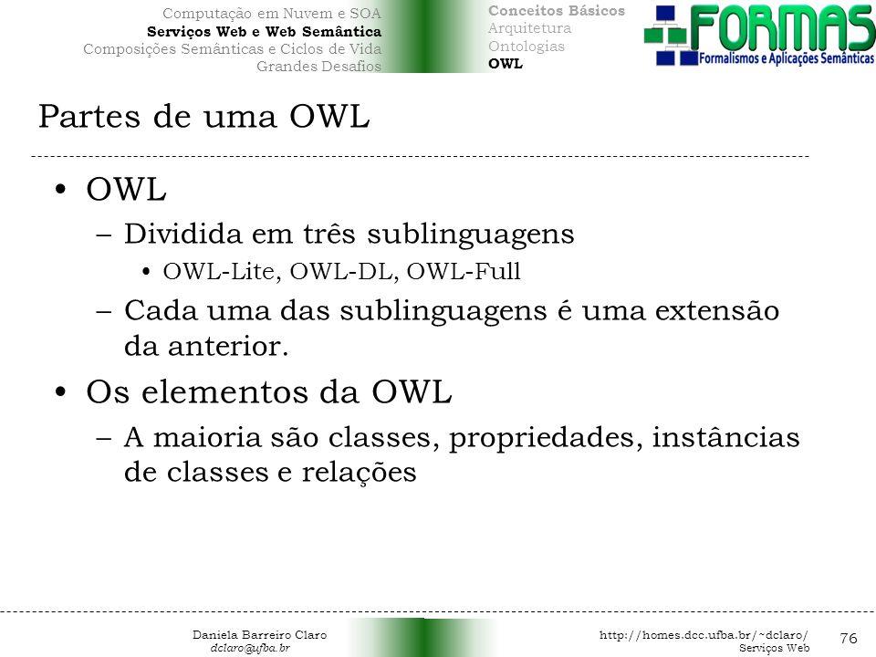 Partes de uma OWL OWL Os elementos da OWL