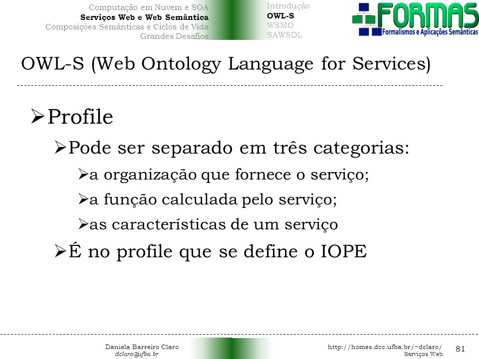 OWL-S (Web Ontology Language for Services)