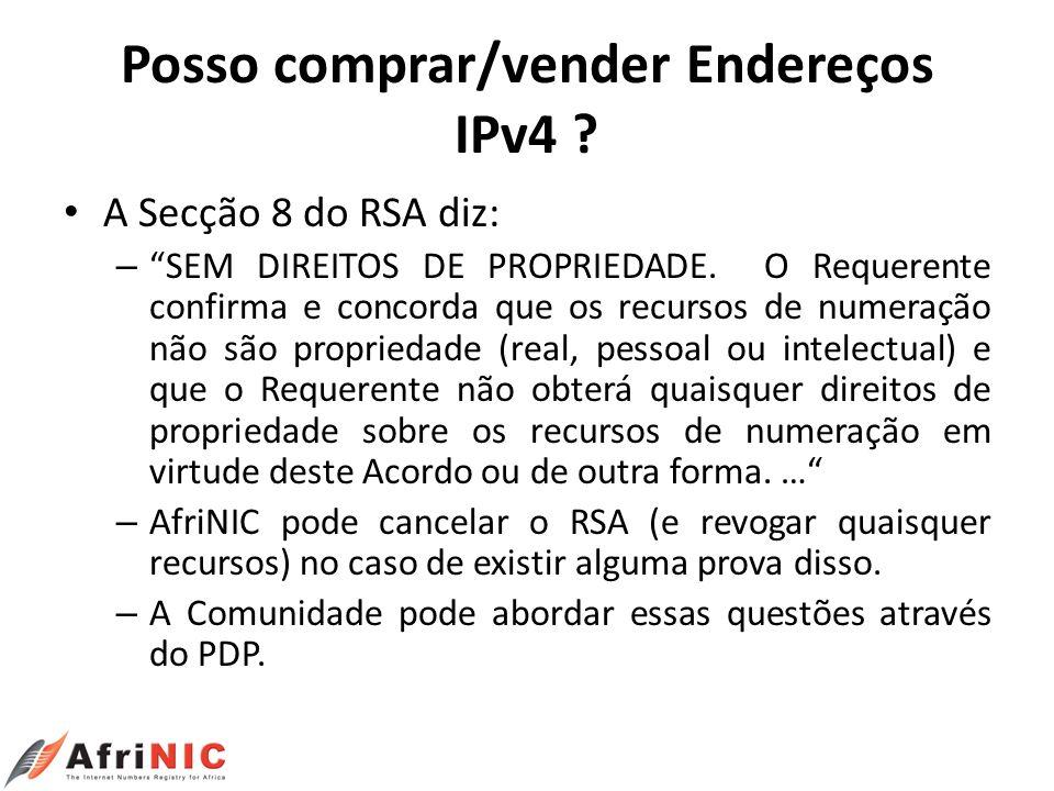 Posso comprar/vender Endereços IPv4