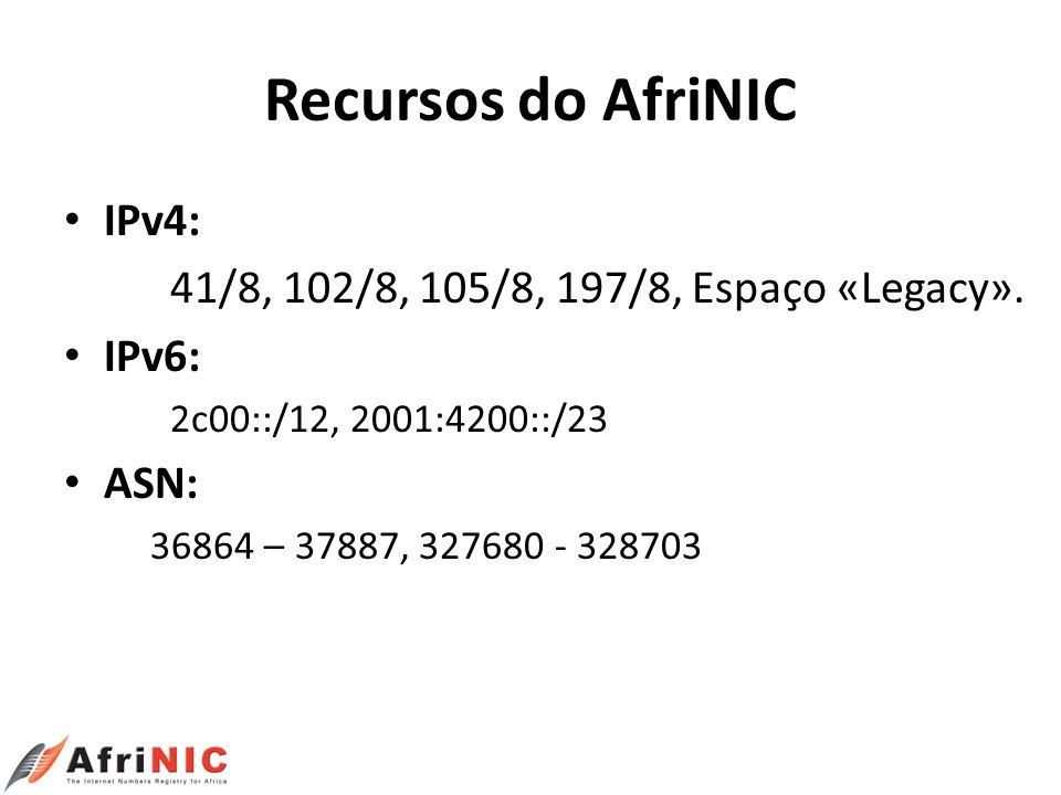 Recursos do AfriNIC IPv4: 41/8, 102/8, 105/8, 197/8, Espaço «Legacy».