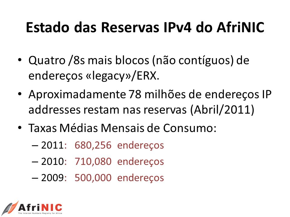 Estado das Reservas IPv4 do AfriNIC