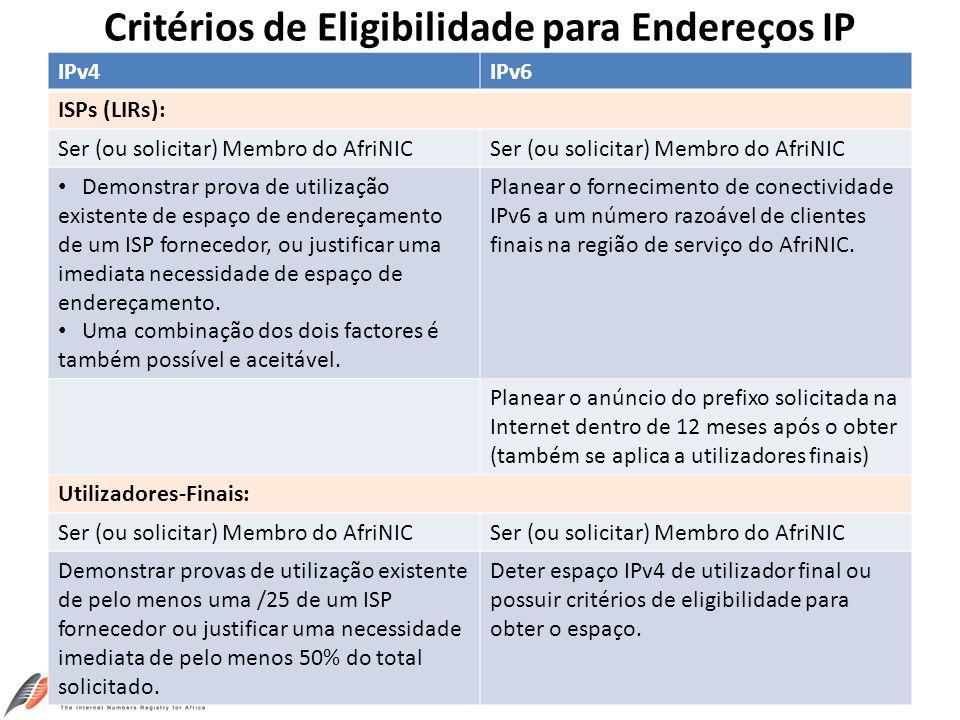 Critérios de Eligibilidade para Endereços IP
