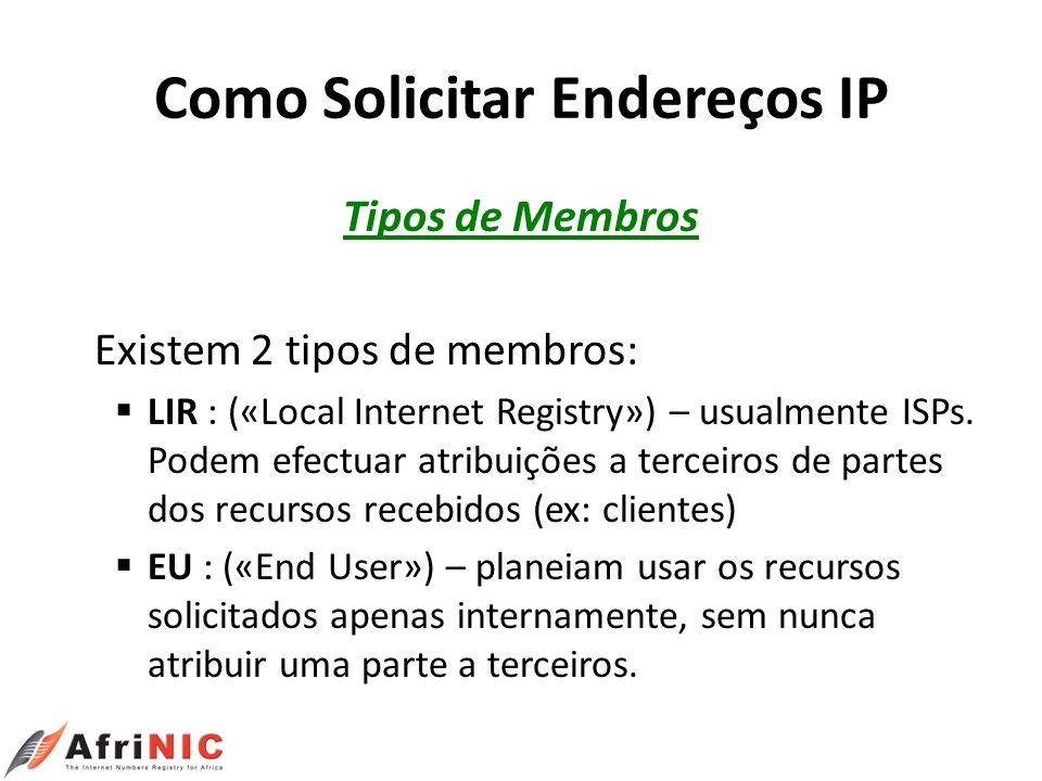 Como Solicitar Endereços IP