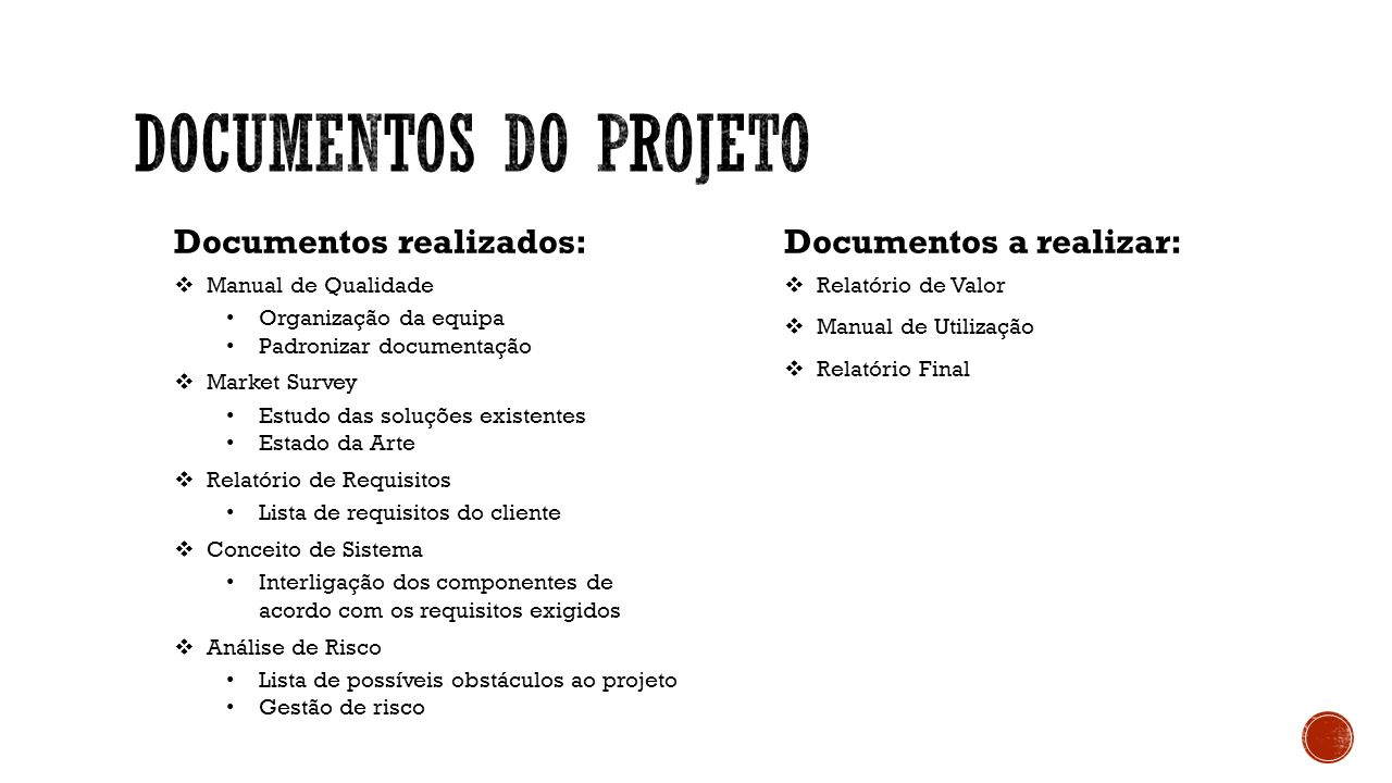 Documentos Do projeto Documentos realizados: Documentos a realizar: