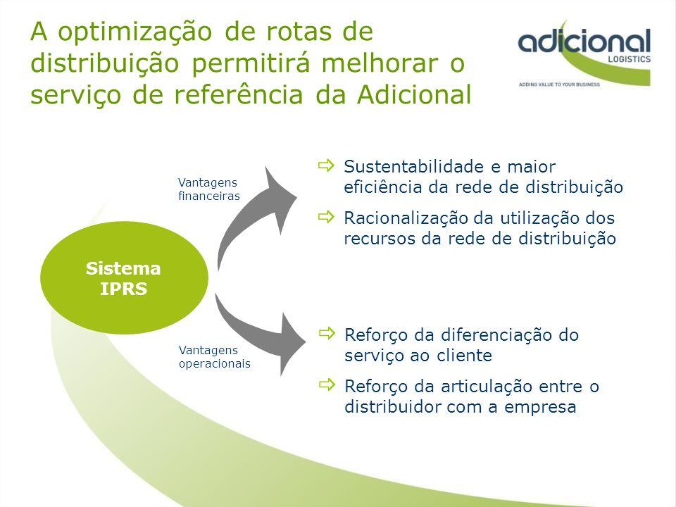 A optimização de rotas de distribuição permitirá melhorar o serviço de referência da Adicional