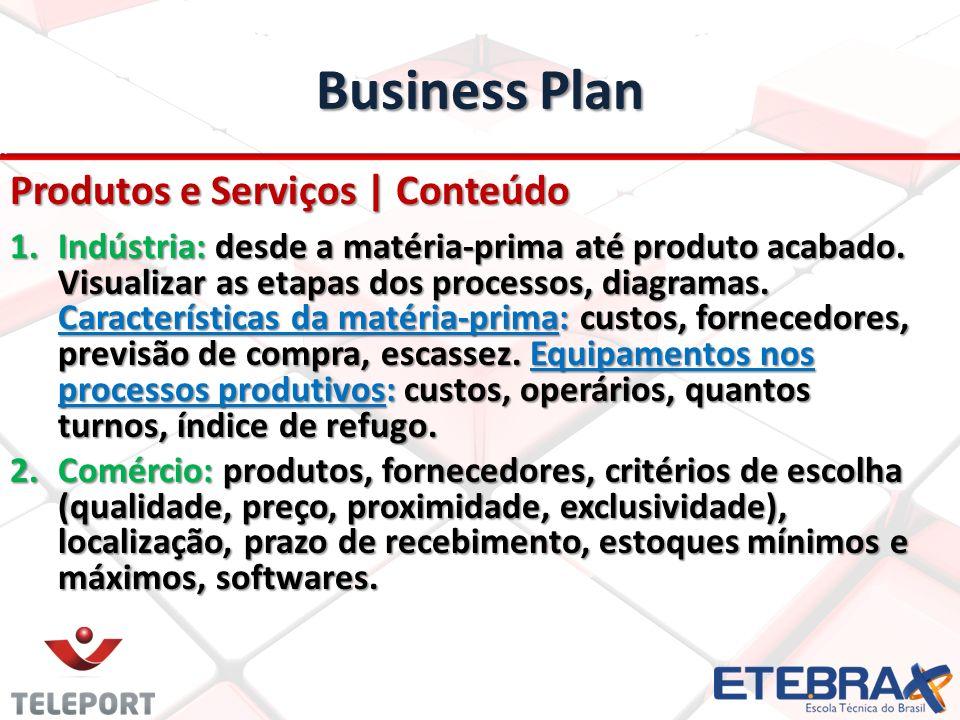 Business Plan Produtos e Serviços | Conteúdo