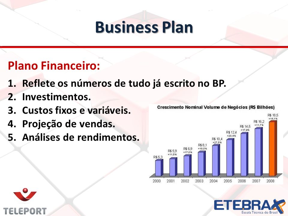 Business Plan Plano Financeiro: