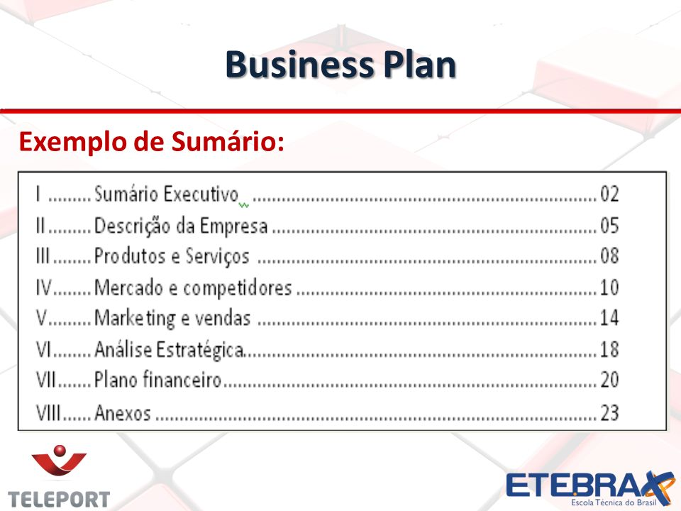 Business Plan Exemplo de Sumário:
