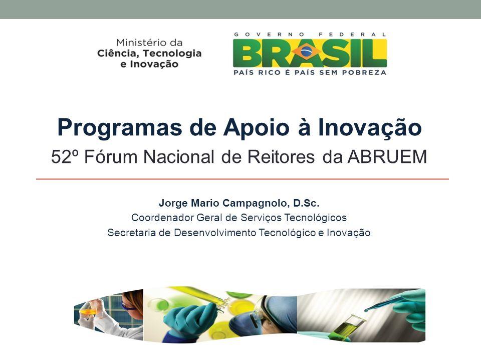 Programas de Apoio à Inovação Jorge Mario Campagnolo, D.Sc.