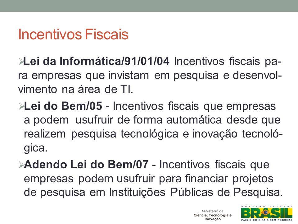 Incentivos Fiscais Lei da Informática/91/01/04 Incentivos fiscais pa-ra empresas que invistam em pesquisa e desenvol-vimento na área de TI.