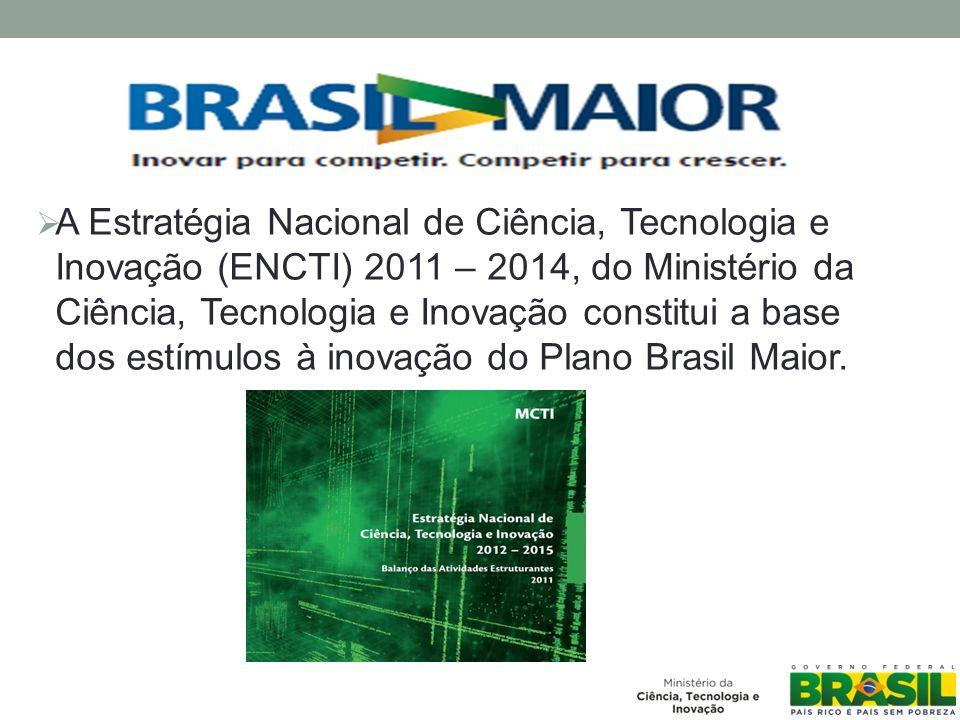 A Estratégia Nacional de Ciência, Tecnologia e Inovação (ENCTI) 2011 – 2014, do Ministério da Ciência, Tecnologia e Inovação constitui a base dos estímulos à inovação do Plano Brasil Maior.
