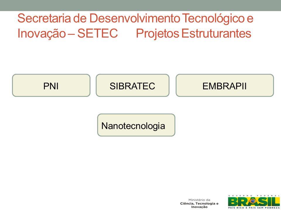 Secretaria de Desenvolvimento Tecnológico e Inovação – SETEC Projetos Estruturantes