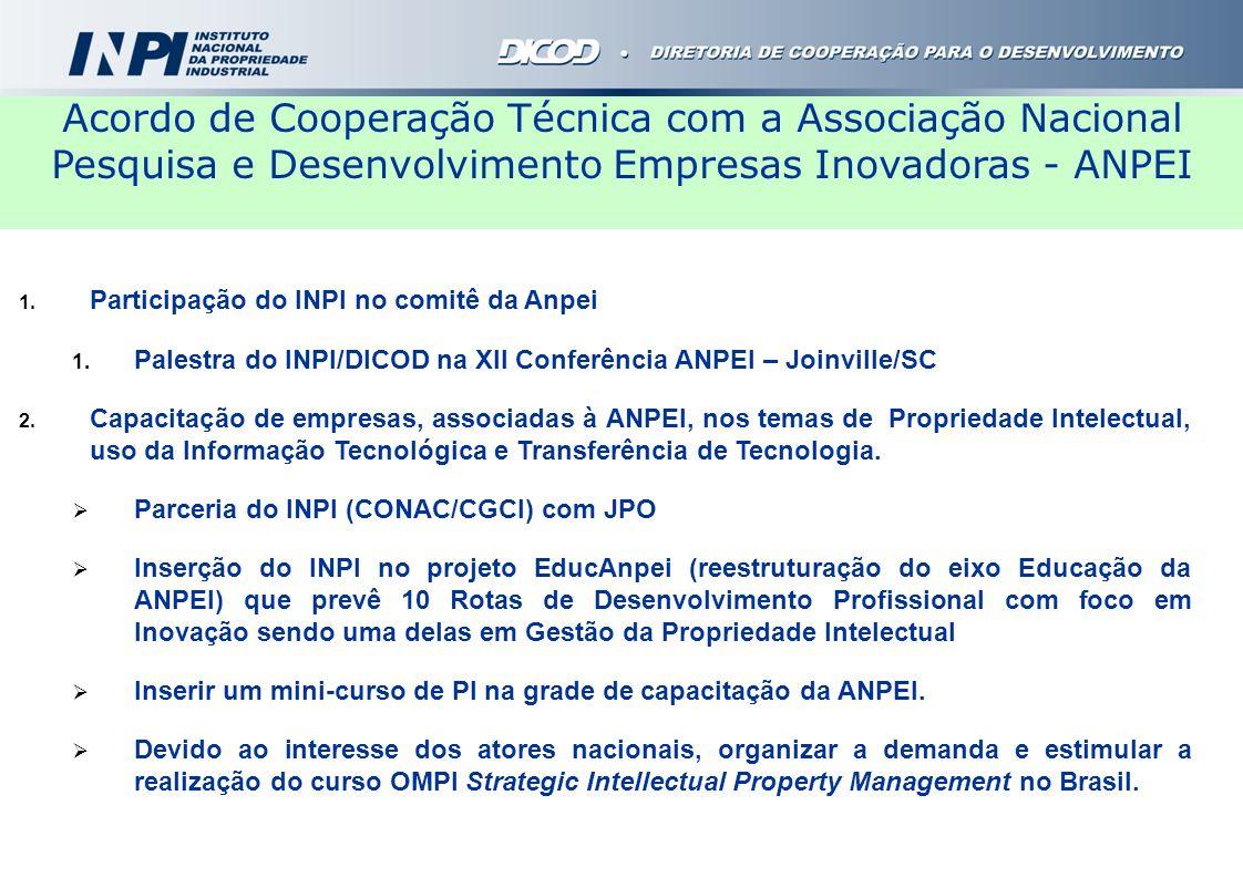 Acordo de Cooperação Técnica com a Associação Nacional Pesquisa e Desenvolvimento Empresas Inovadoras - ANPEI
