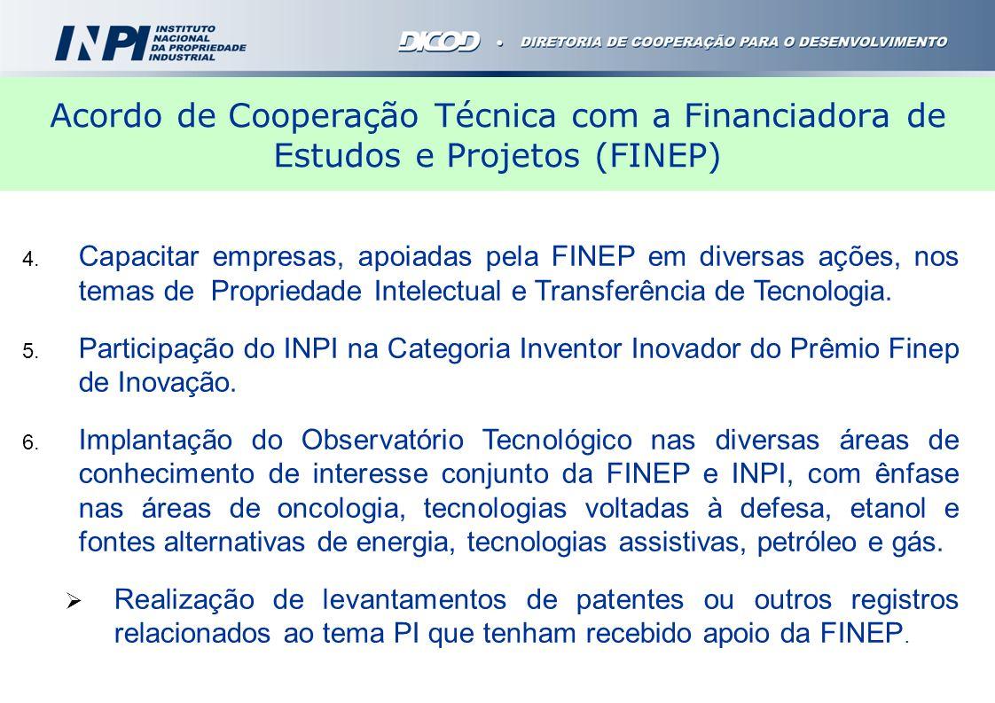 Acordo de Cooperação Técnica com a Financiadora de Estudos e Projetos (FINEP)