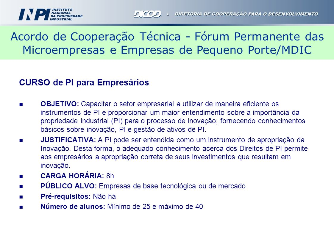 Acordo de Cooperação Técnica - Fórum Permanente das Microempresas e Empresas de Pequeno Porte/MDIC