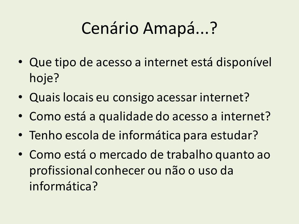 Cenário Amapá... Que tipo de acesso a internet está disponível hoje