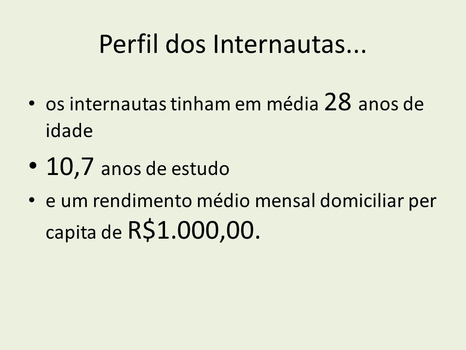 Perfil dos Internautas...