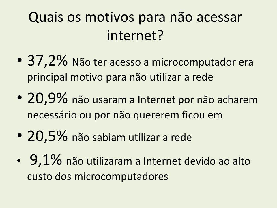 Quais os motivos para não acessar internet