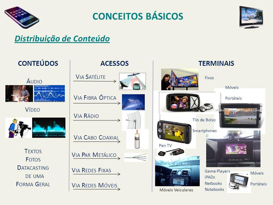 CONCEITOS BÁSICOS Distribuição de Conteúdo CONTEÚDOS ACESSOS TERMINAIS