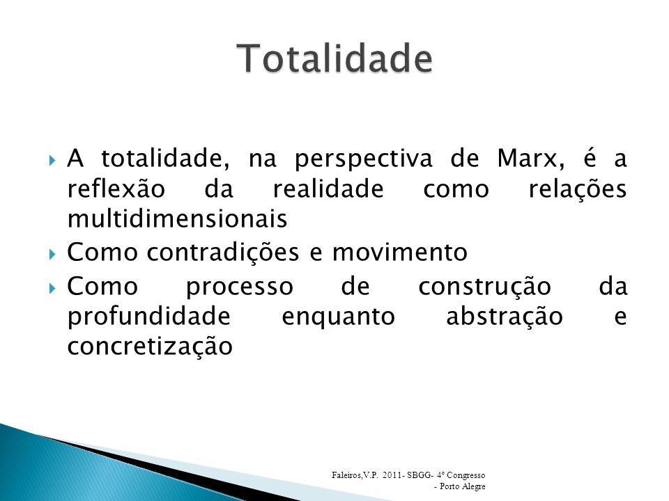 Totalidade A totalidade, na perspectiva de Marx, é a reflexão da realidade como relações multidimensionais.