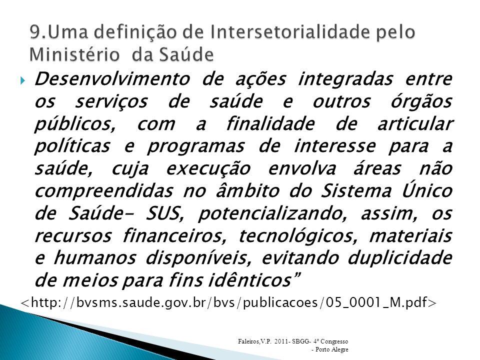 9.Uma definição de Intersetorialidade pelo Ministério da Saúde