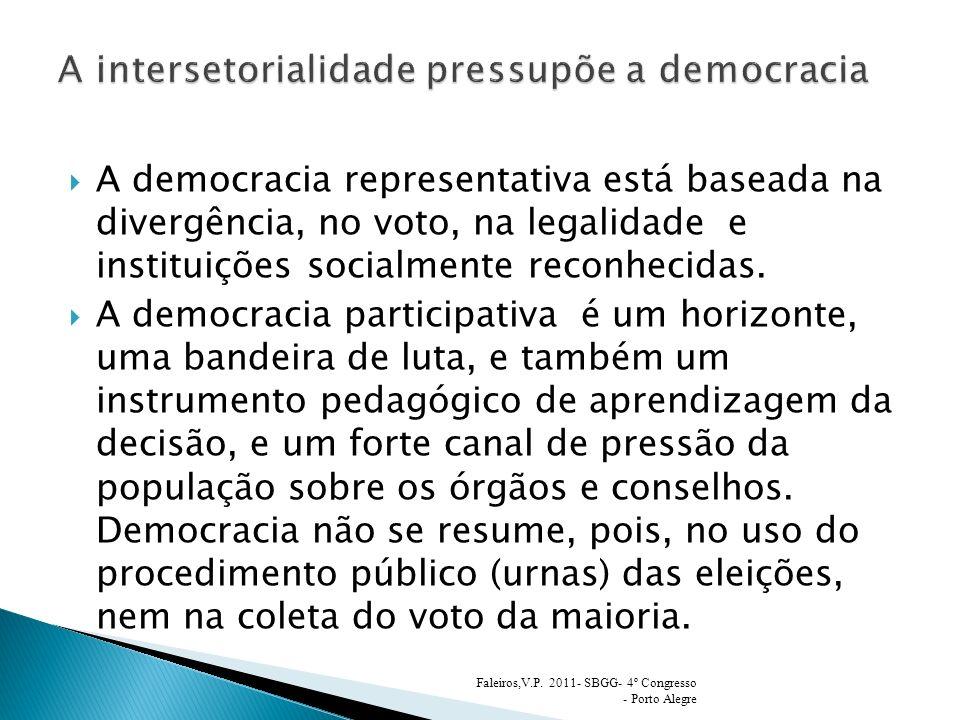 A intersetorialidade pressupõe a democracia
