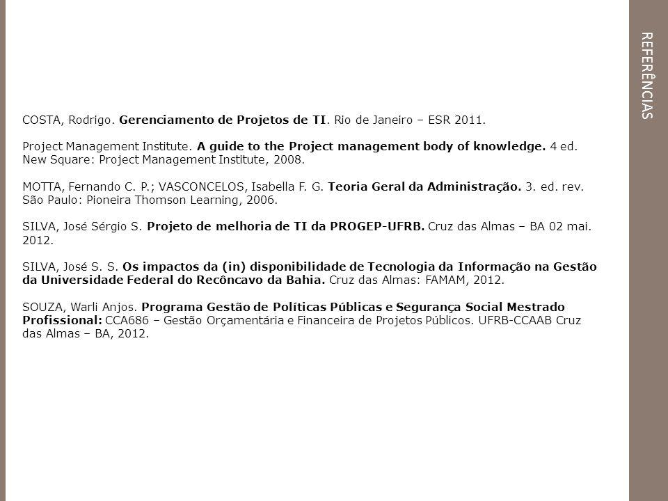referências COSTA, Rodrigo. Gerenciamento de Projetos de TI. Rio de Janeiro – ESR 2011.
