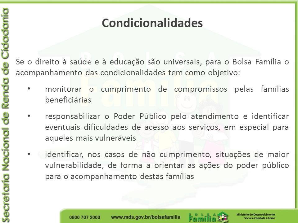 Condicionalidades Se o direito à saúde e à educação são universais, para o Bolsa Família o acompanhamento das condicionalidades tem como objetivo: