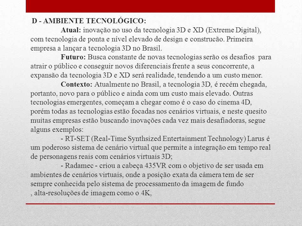 D - AMBIENTE TECNOLÓGICO: