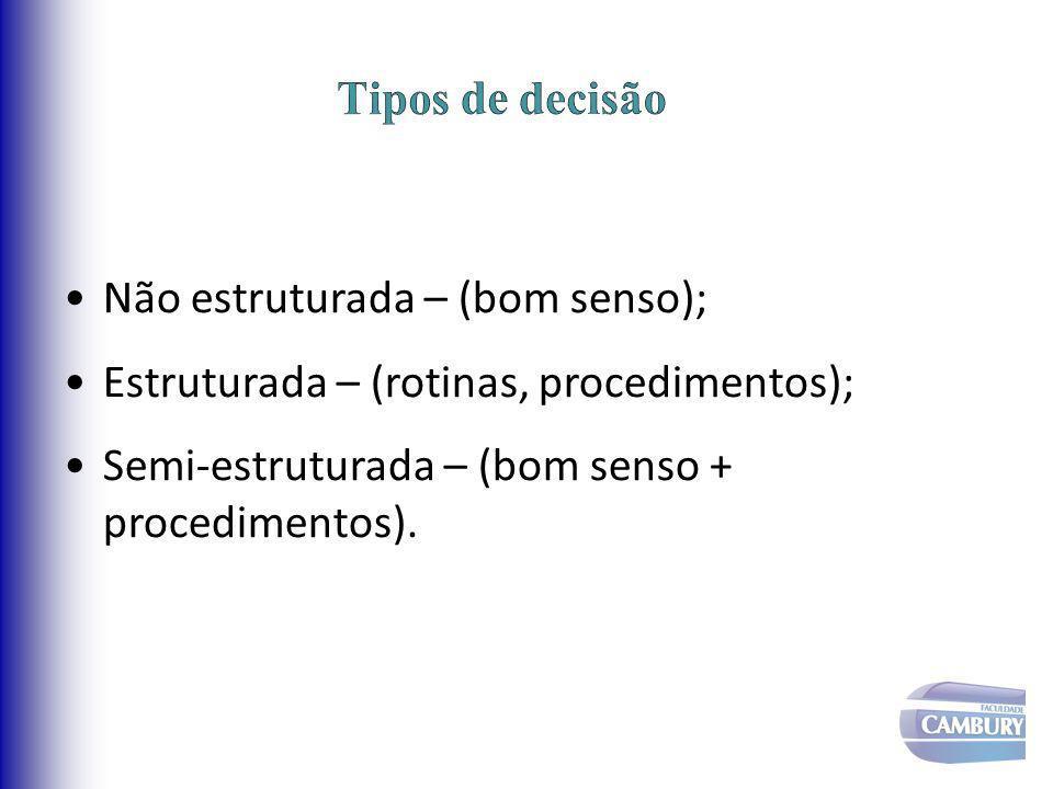 Tipos de decisão Não estruturada – (bom senso); Estruturada – (rotinas, procedimentos); Semi-estruturada – (bom senso + procedimentos).