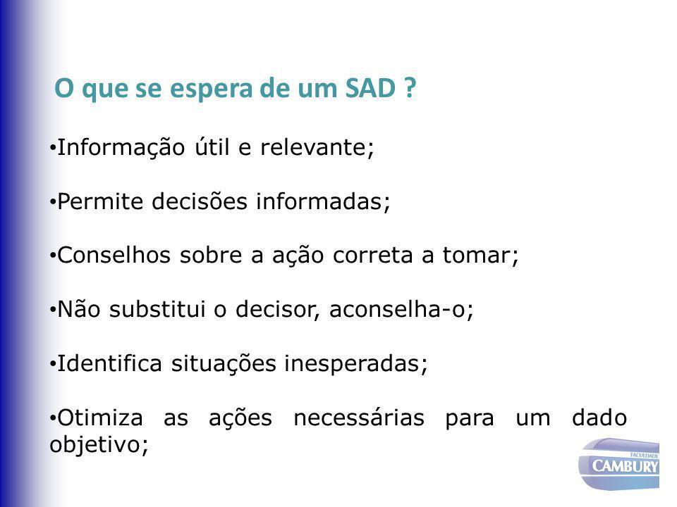 O que se espera de um SAD Informação útil e relevante; Permite decisões informadas; Conselhos sobre a ação correta a tomar;