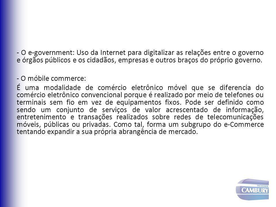 - O e-government: Uso da Internet para digitalizar as relações entre o governo e órgãos públicos e os cidadãos, empresas e outros braços do próprio governo.